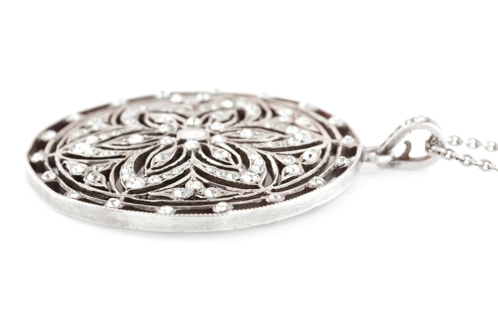 Belle Epoche French Paste Pendant & Chain - Antique Silver Paste Pendant c.1900