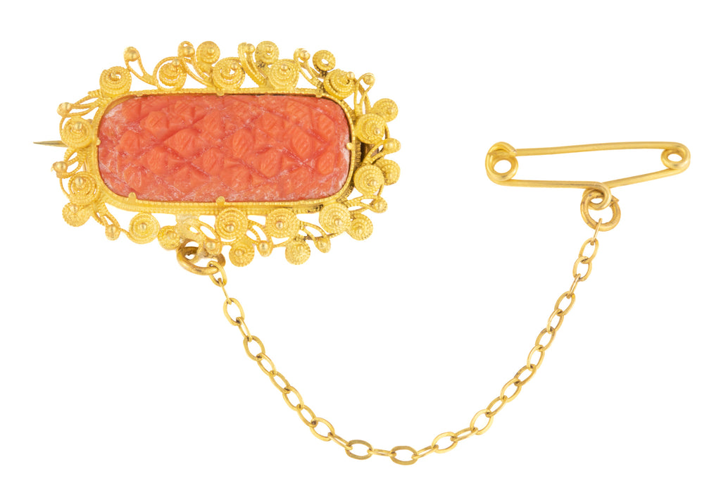 Victorian Coral Cannetille Brooch in 15ct Gold