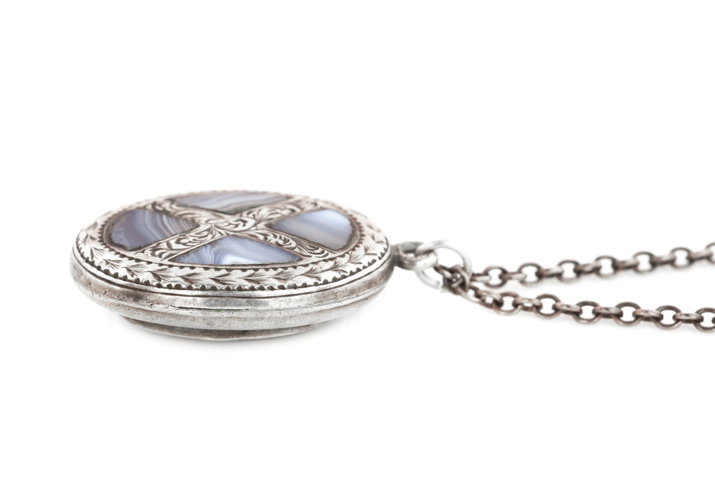 "Victorian Silver & Agate ""Pebble"" Locket, with Chain - Antique Silver Shaker Locket"