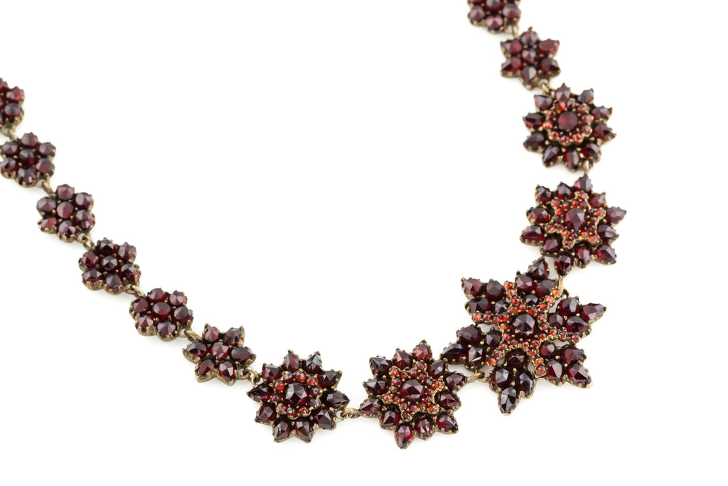 Antique Garnet Star Necklace - Victorian Garnet Necklace