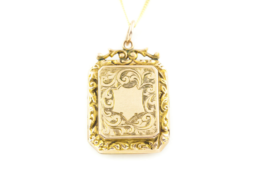 Edwardian 9ct Gold Square Locket with Chain
