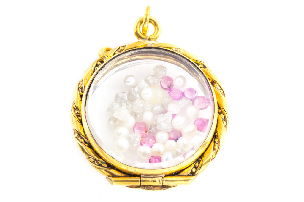 Sweet Antique Shaker Locket (with Pink Sapphires, Pearls & Diamonds)
