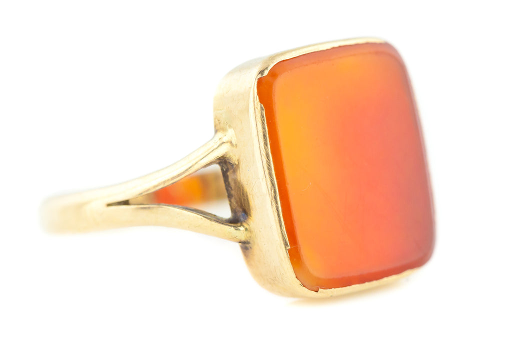 Antique Carnelian Signet Ring - Antique 9ct Gold Carnelian Ring