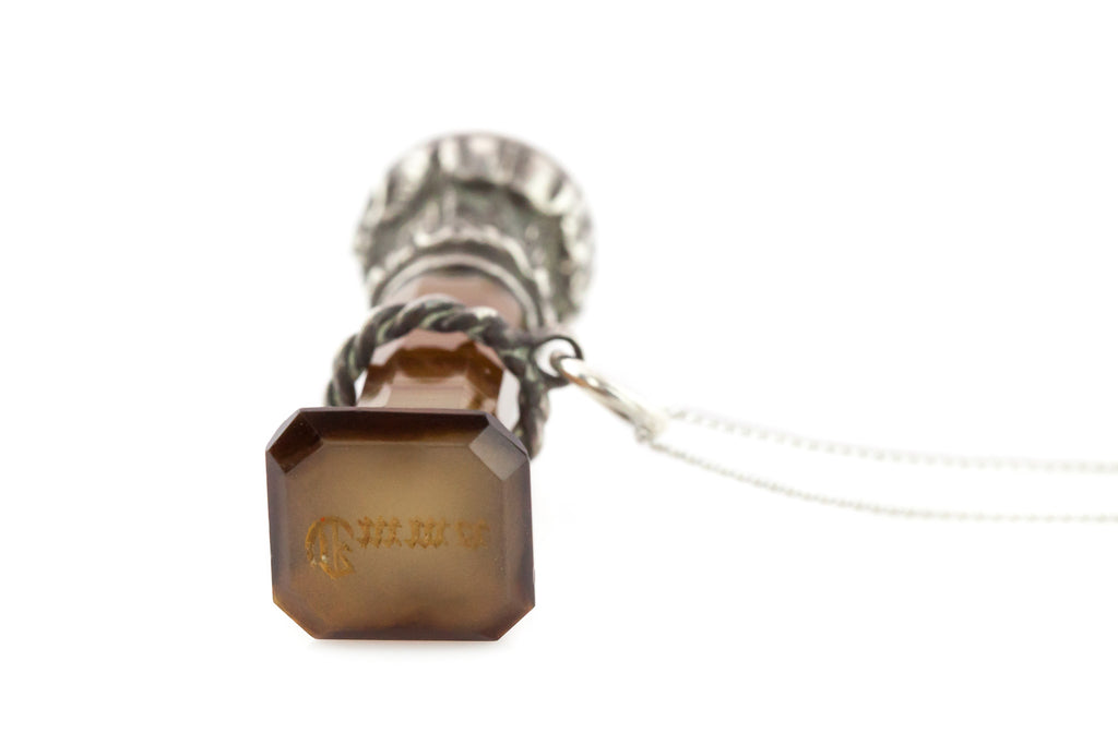 Antique Banded Agate Seal Fob Pendant c.1880