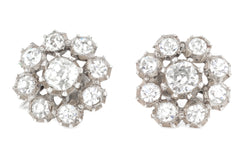 Silver Victorian Paste Cluster Earrings c.1850