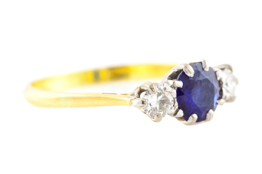 18ct Gold Art Deco Sapphire Diamond Trilogy Ring c.1920