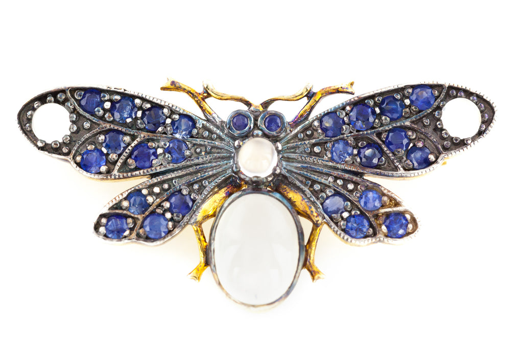 Art Nouveau Style 9ct Gold Sapphire and Moonstone Insect Brooch