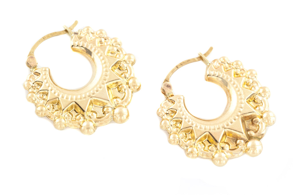 9ct Gold Vintage Creole Hoop Earrings