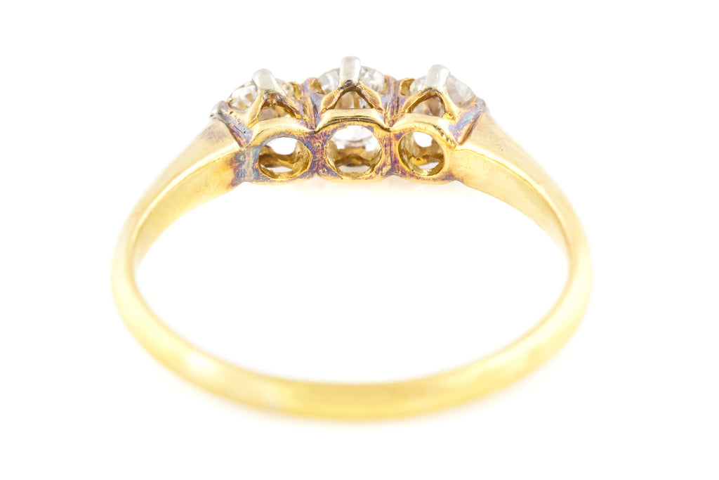 RESERVED! 18ct Gold Art Deco Diamond Trilogy Ring (0.45ct) c.1920