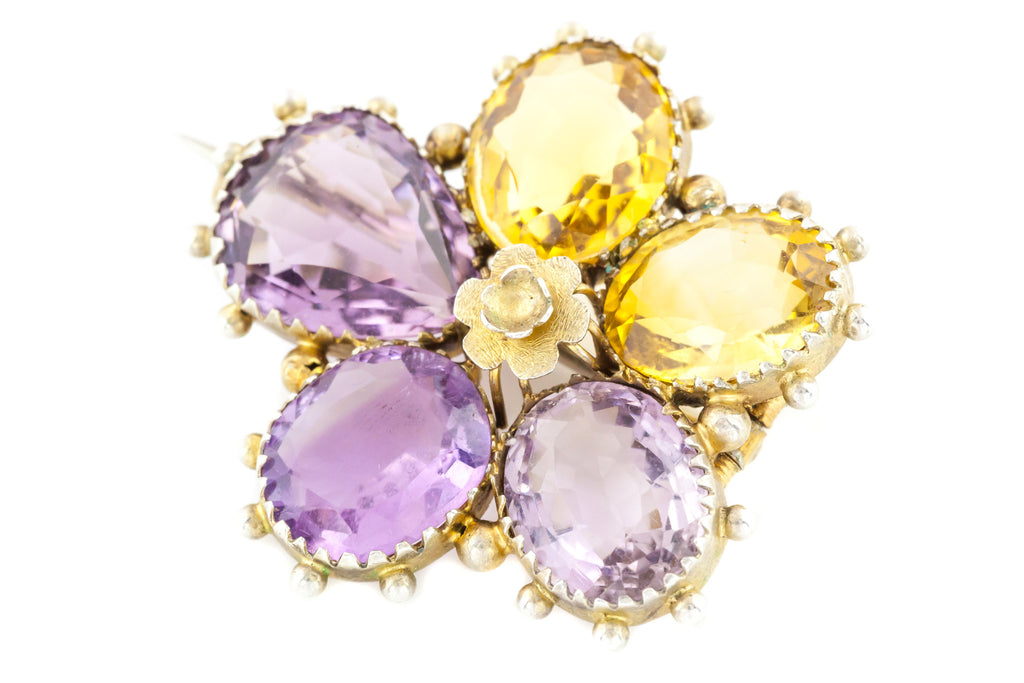 Georgian Amethyst and Citrine Pansy Brooch c.1820