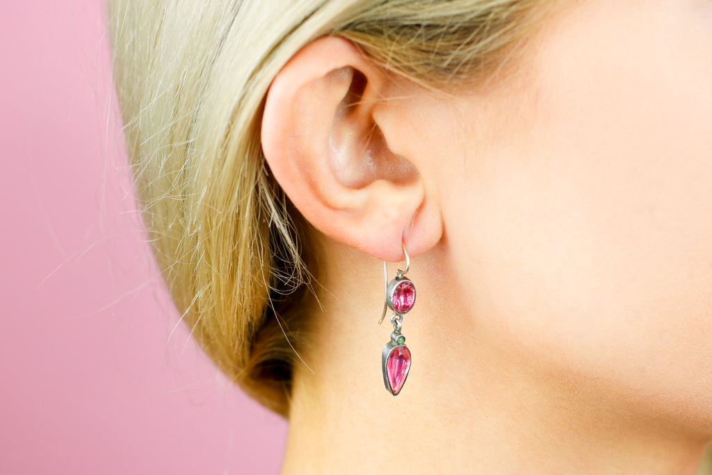 Georgian Pink & Green Paste Drop Earrings in Silver & Gold