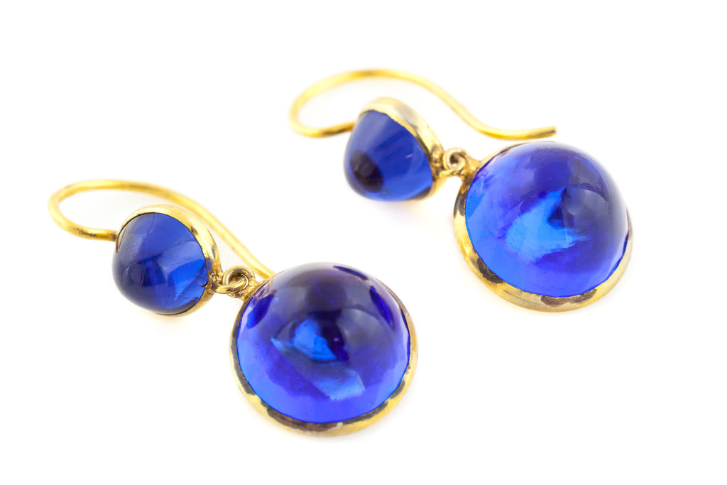 Stunning Arts and Crafts Era Blue Glass Drop Earrings c.1890