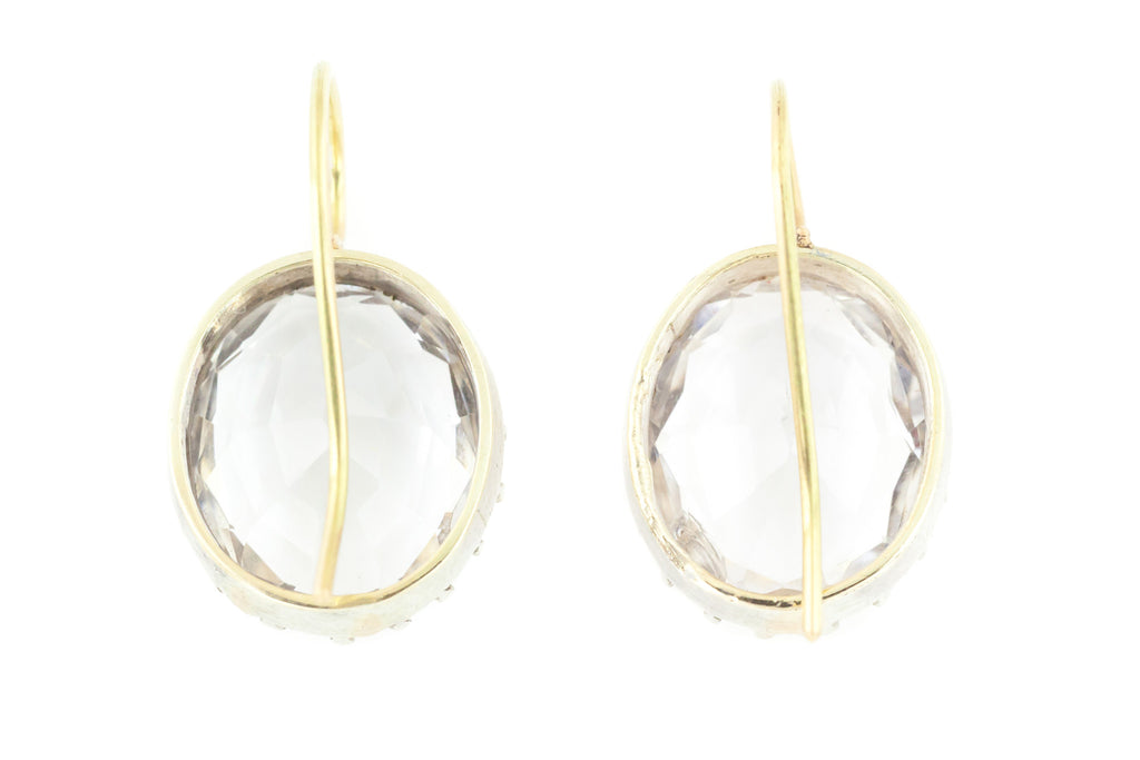Superb Antique Rock Crystal Earrings with 9ct Gold Hooks