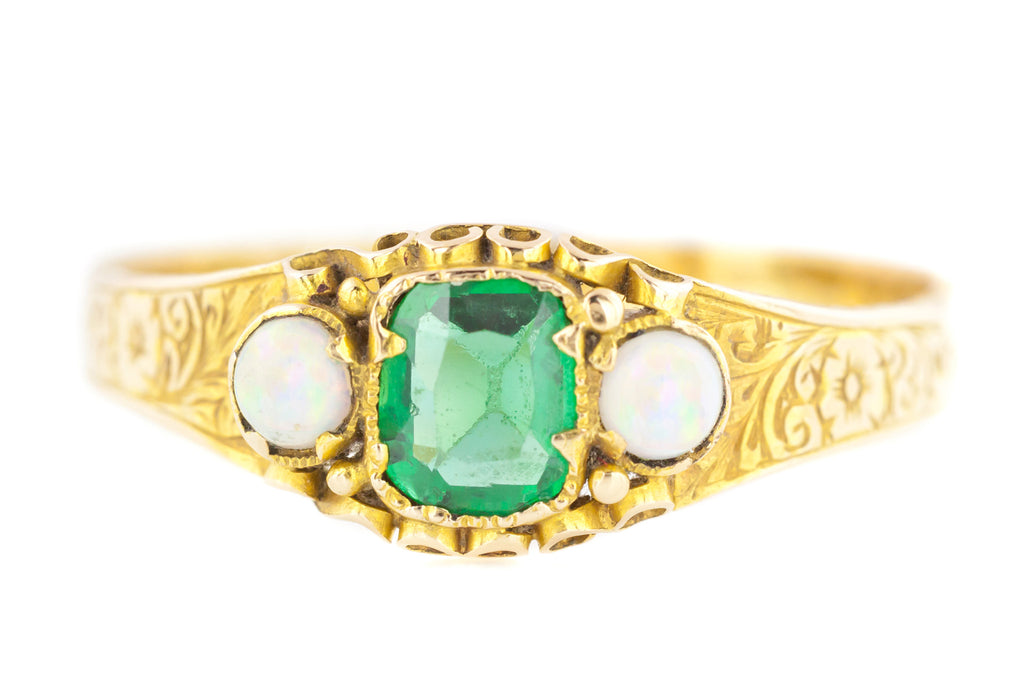 15ct Gold Victorian Emerald and Opal Trilogy Ring c.1868