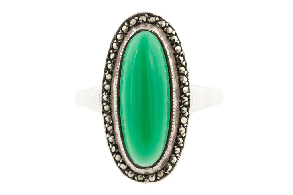 Art Deco Green Chrysoprase Marcasite Dress Ring c.1920