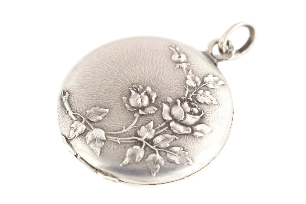 Art Nouveau French Silver Locket with Wild Rose Motif & Chain