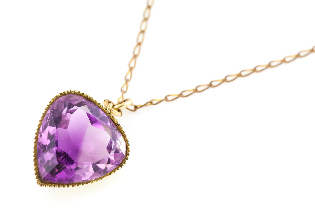 9ct Gold Antique Amethyst Heart Pendant with Chain