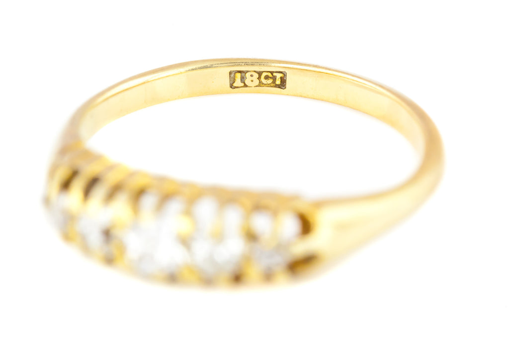 Antique Five Stone Diamond Boat Ring
