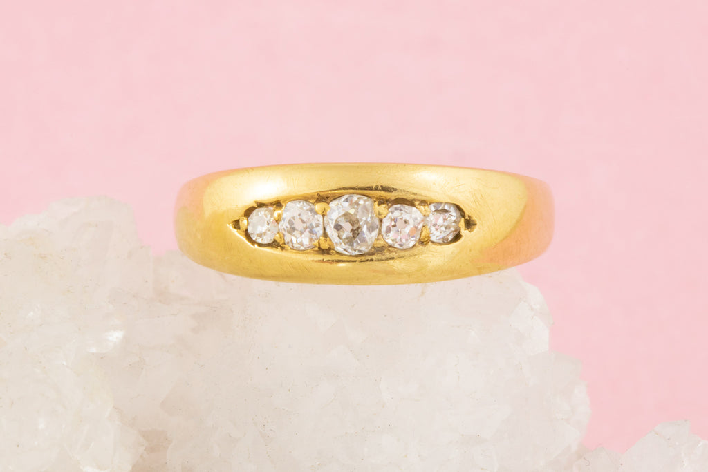 Antique 18ct Gold Five Stone Diamond Ring ( 0.18ct)