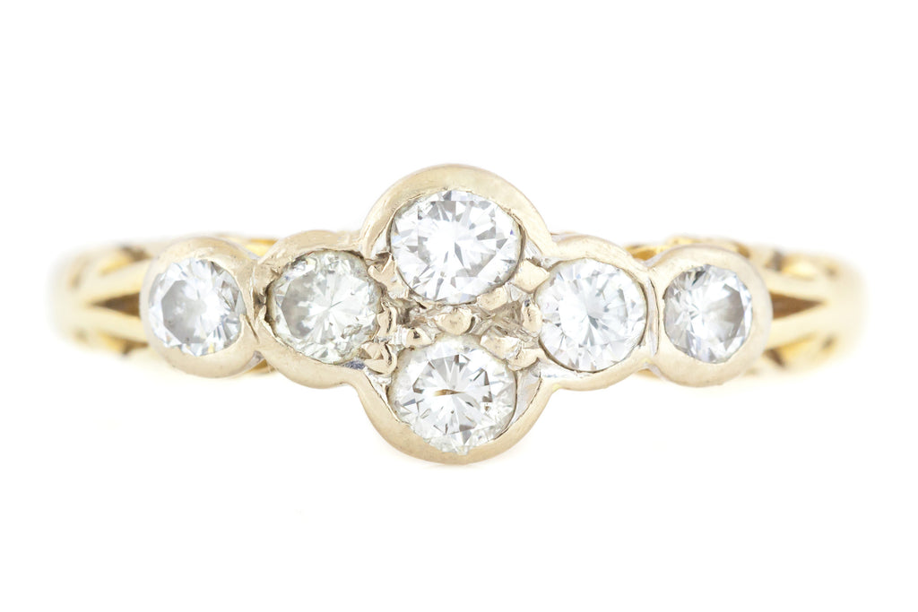 18ct Gold Diamond Ring with Scrolled Gallery 0.40ct