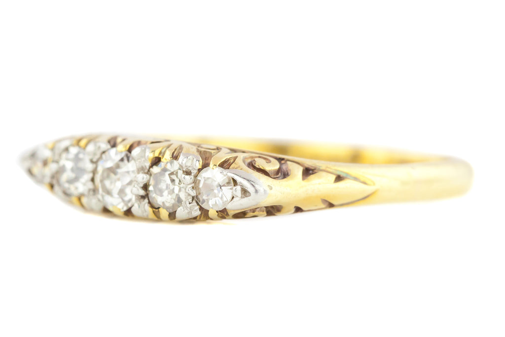 Antique Five Stone Diamond Boat Ring (0.25ct)