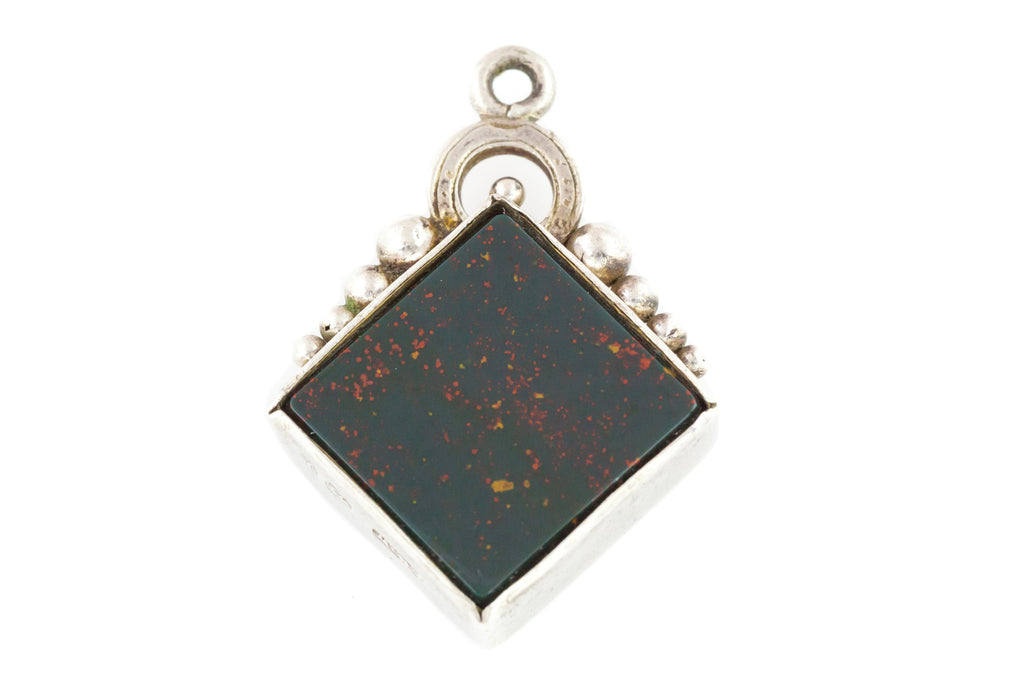 Antique Silver and Bloodstone Fob Pendant c.1889