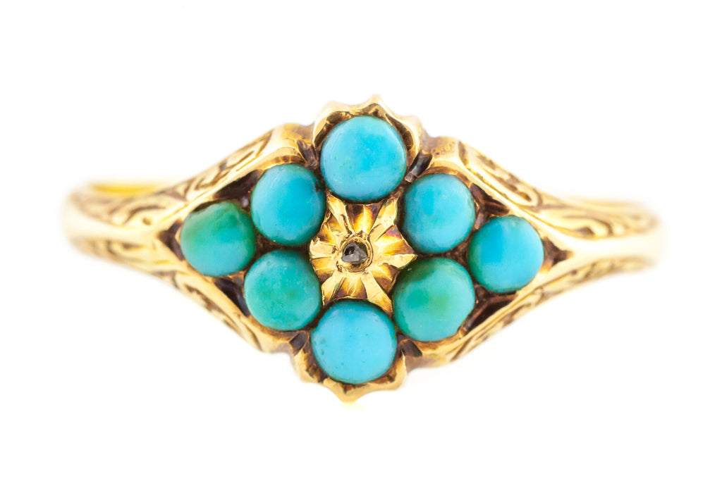 9ct Gold Antique Turquoise Diamond Cluster Ring c.1840