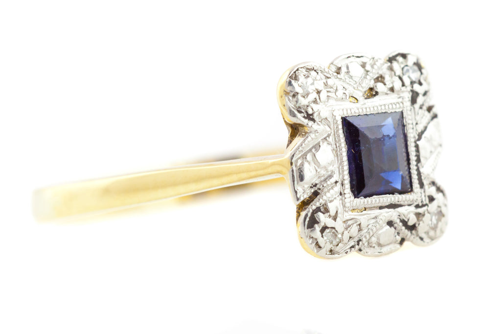 18ct Gold and Platinum Art Deco Sapphire Diamond Ring c.1920