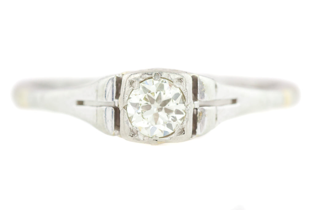 18ct White Gold Art Deco Solitaire Diamond Engagement Ring (0.20ct)