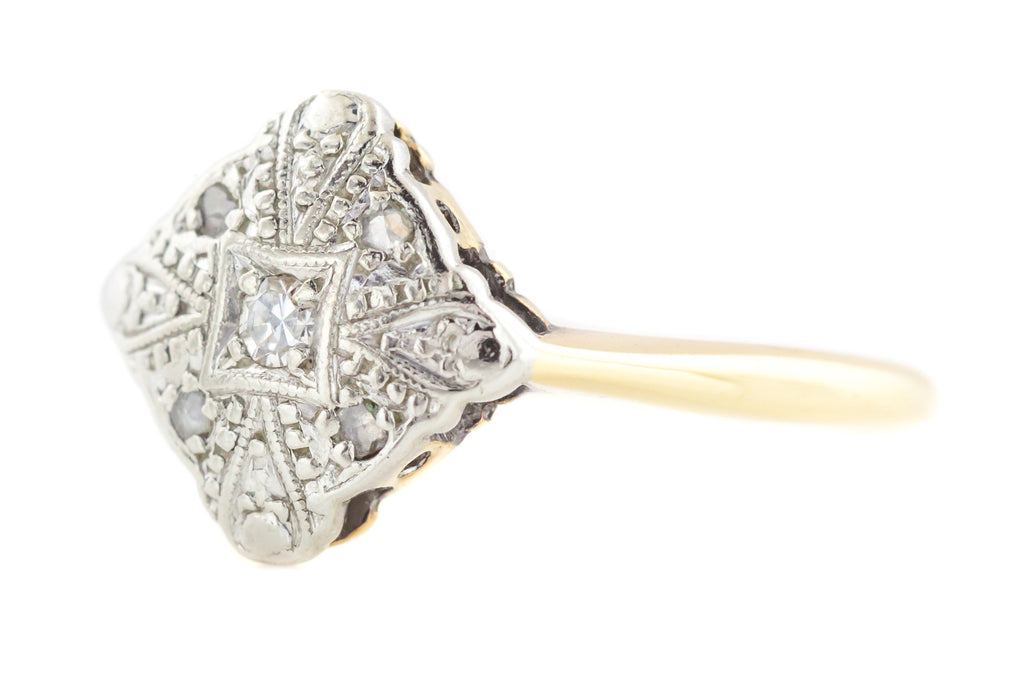 9ct Gold Art Deco Platinum Diamond Cluster Ring c.1920