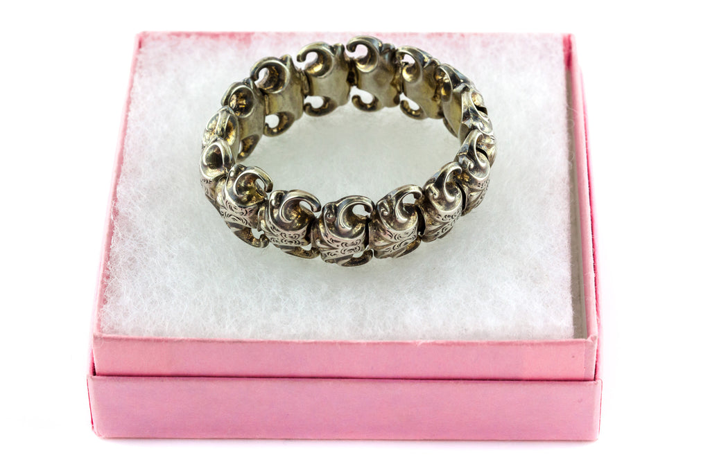 Rare Antique Silver Expanding Bracelet - Antique French Silver Bracelet c.1880