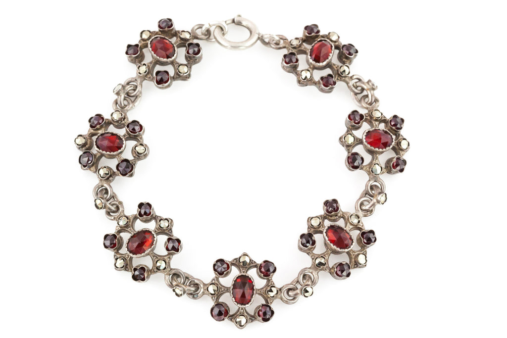 Antique Bohemian Garnet and Marcasite Bracelet