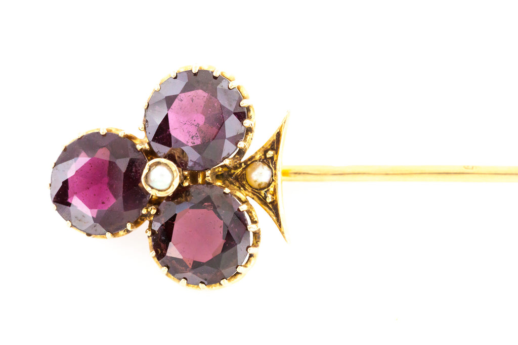 Antique French Trefoil Garnet and Pearl Stick Pin c.1890