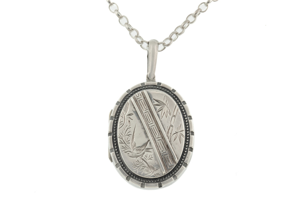 "Victorian Aesthetic Silver Locket  with 20"" Chain"