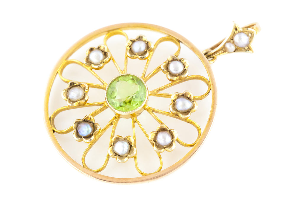 "9ct Gold Antique Peridot Pendant - Edwardian Pearl ""Flower"" Pendant c.1901"