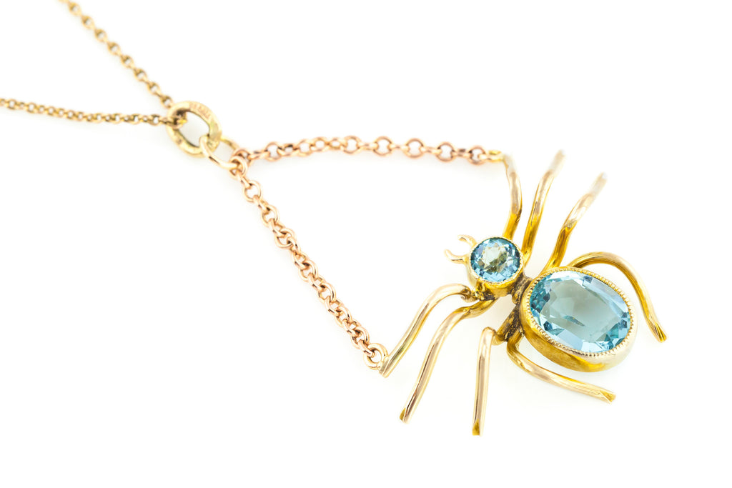 Art Nouveau 9ct Rose Gold Spider Pendant c.1900
