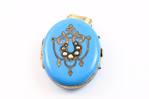 Rare Antique Victorian Enamel and Seed Pearl Locket