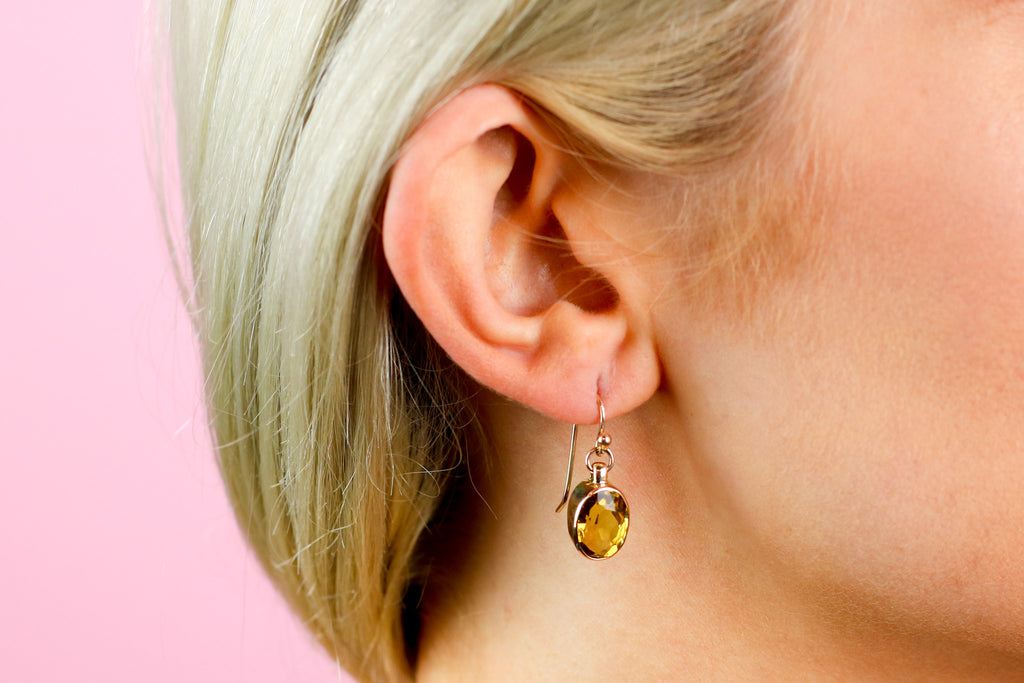Lovely 9ct Gold Citrine Drop Earrings