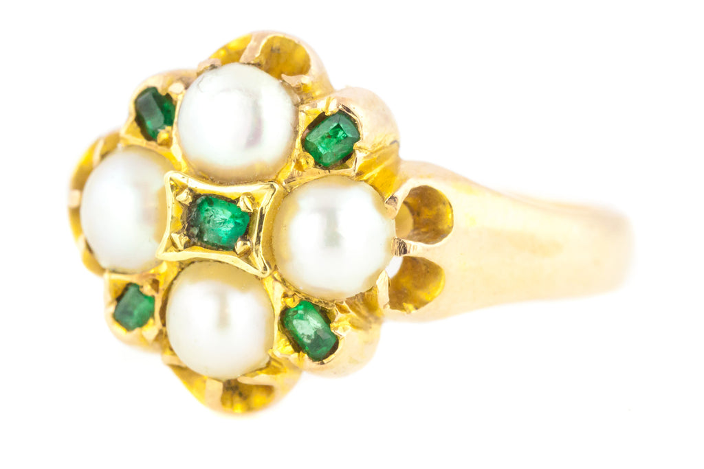 15ct Gold Victorian Pearl and Emerald Cluster Ring c.1876