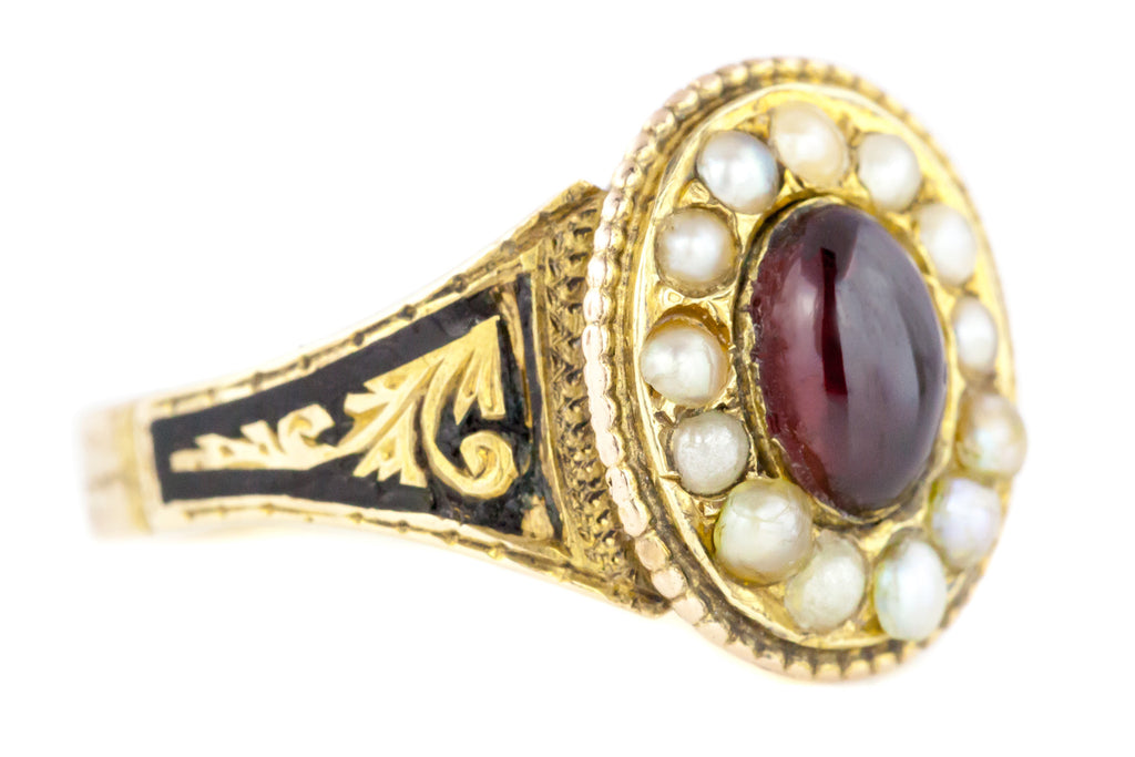 Victorian Garnet Cabochon and Pearl Mourning Ring