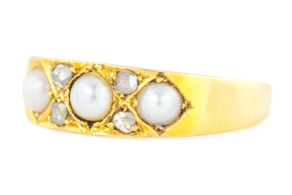 Victorian Pearl & Rose Cut Diamond Ring in 18ct Gold