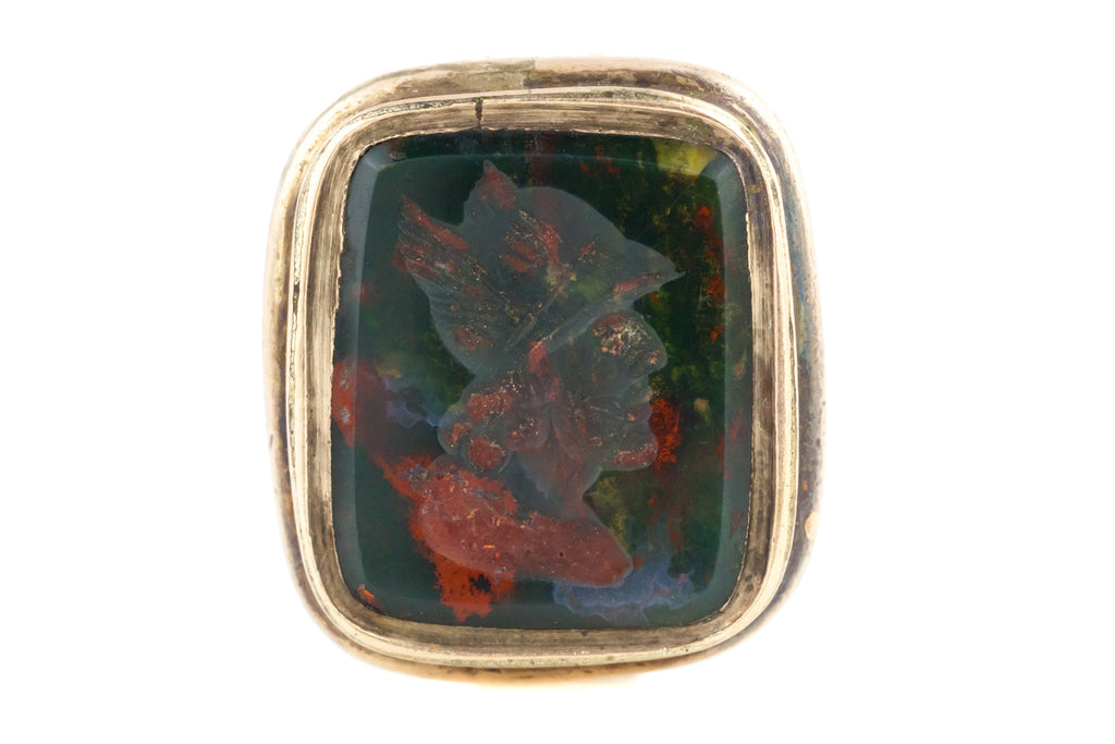 9ct Gold Victorian Bloodstone Intaglio Fob Pendant - Antique 9ct Gold Wax Seal Fob