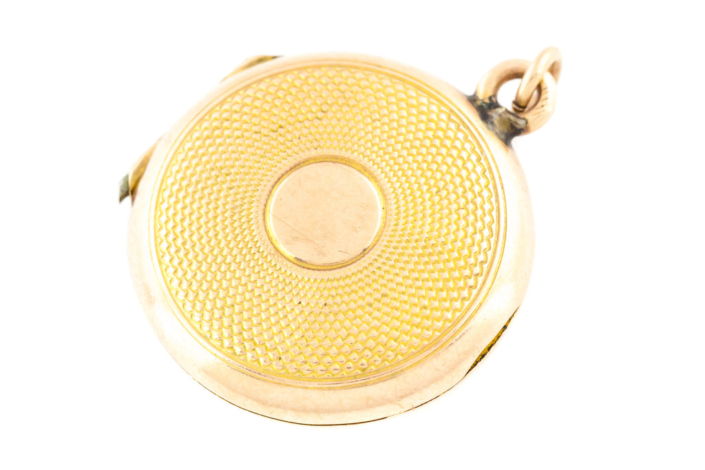 9ct Gold Antique Engine Turned Locket with Chain c.1840