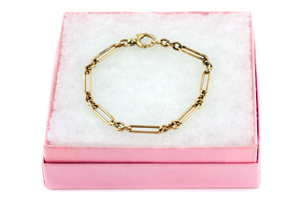 Victorian 9ct Gold Chain Link Bracelet - 6.1g
