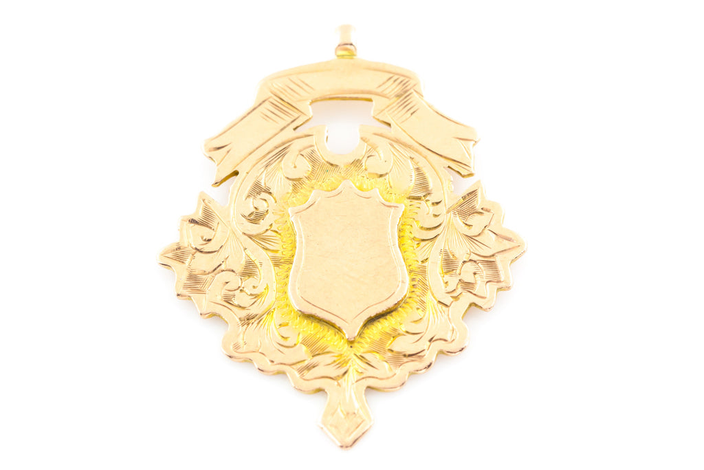 Edwardian 9ct Gold Medal Fob Pendant - England c.1911