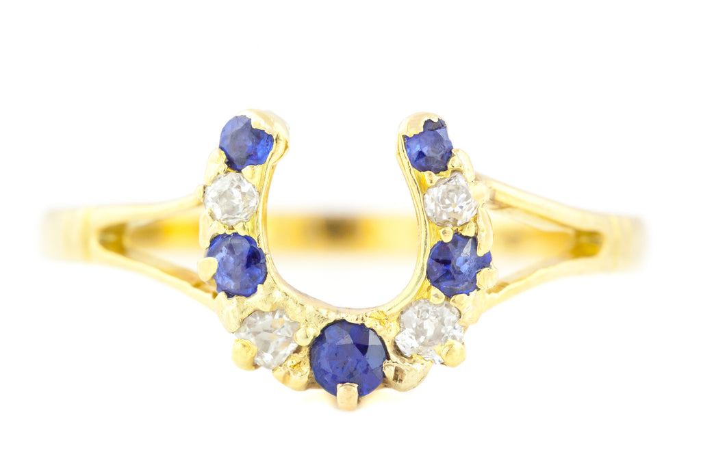 Victorian Diamond and Sapphire Horseshoe Ring