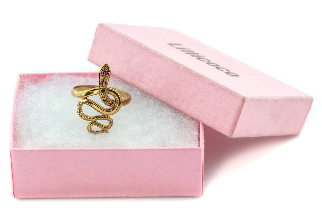 Vintage 9ct Rose Gold Snake Ring with Ruby Eyes