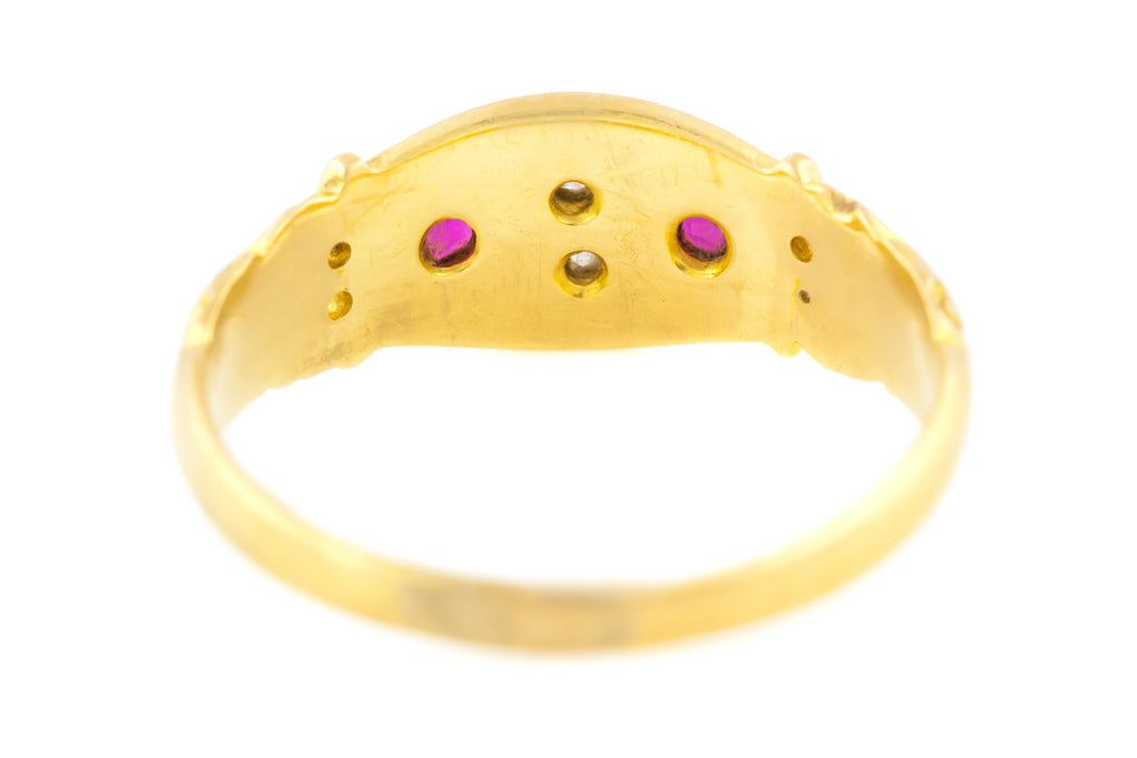 Antique Ruby and Diamond Gypsy Ring in 18ct Gold - English, Chester c.1899