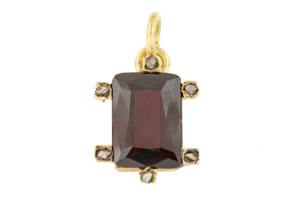 Antique Garnet Diamond Gold Charm