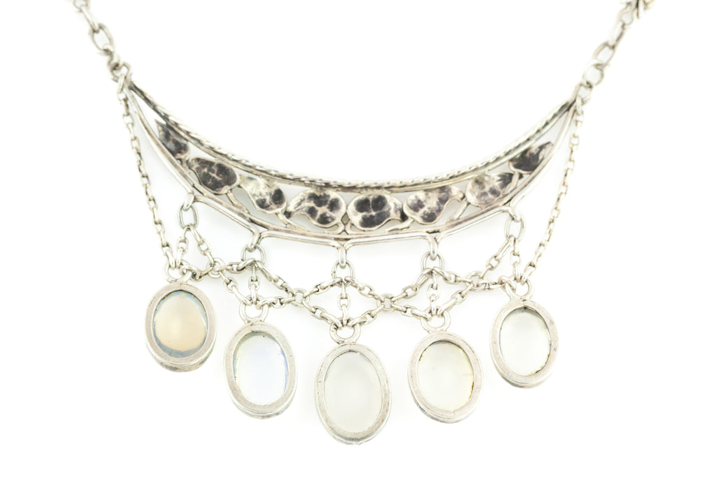 Silver Arts & Crafts Moonstone Drop Necklace c.1900